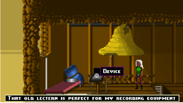 Screenshot of the single-click interface for The Fickle Hands of Fate, point and click adventure game by LostTrainDude