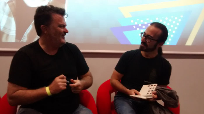 Tim Schafer signing an autograph to Christopher Sacchi (LostTrainDude) at Milan Games Week 2017